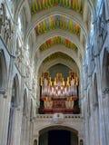 Organo nella La Almudena della cattedrale Immagine Stock