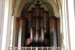 Organrör i Frauenkirche i Munich, Tyskland Royaltyfri Bild
