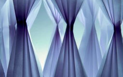 Organza in blue. Composition with  paper fans in blue Royalty Free Stock Images
