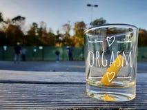 Orgasme geschoten glas royalty-vrije stock afbeeldingen