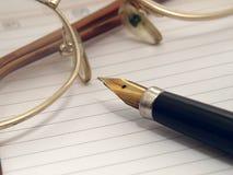 Orgaynizer, vetri e penna fotografia stock
