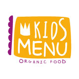 Orgnic Food For Kids, Cafe Special Menu For Children Colorful Promo Sign Template With Text In Purple And Orange Royalty Free Stock Photography