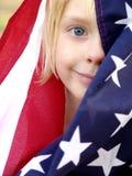Orgoglio americano - metta a fuoco sopra dietro della bandierina Immagini Stock