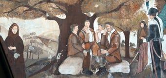 ORGOSOLO ИТАЛИЯ 4-ое октября 2015 Murales в Orgosolo Италии в виду того что около 1969 настенные живописи отражают различные аспе Стоковое фото RF