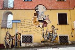 ORGOSOLO, ITALIË - MEI 21, 2014: Muurschilderijen Royalty-vrije Stock Afbeeldingen