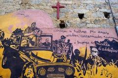 ORGOSOLO, ITALIË - MEI 21, 2014: Muurschilderijen Royalty-vrije Stock Afbeelding