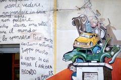 ORGOSOLO, ITALIË - MEI 21, 2014: Muurschilderijen Stock Afbeelding