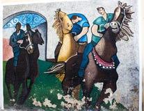 ORGOSOLO, ITALIE - 26 juillet 2015 - peintures de mur typiques sur photos libres de droits