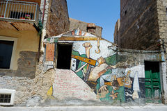 ORGOSOLO, ITALIEN - 21. MAI 2014: Wandbilder Stockbild