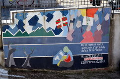 ORGOSOLO ITALY 4 October 2015 Murales in Orgosolo Italy Since about 1969 the wall paintings reflect different aspects of Sardinia. 's political struggles and Stock Image