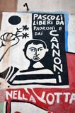 ORGOSOLO ITALY 4 October 2015 Murales in Orgosolo Italy Since about 1969 the wall paintings reflect different aspects of Sardinia' Stock Photos