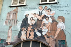 ORGOSOLO ITALY 4 October 2015 Murales in Orgosolo Italy Since about 1969 the wall paintings reflect different aspects of Sardinia' Royalty Free Stock Photography