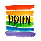 Orgulho alegre Texto na textura do arco-íris ilustração do vetor