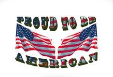 Orgulhoso ser americano com as duas bandeiras dos EUA usadas como o fundo foto de stock