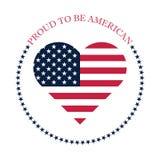 Orgulhoso ser projeto americano do ícone com os elementos do emblema da bandeira americana ilustração royalty free