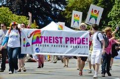 Orgullo ateo en el desfile del orgullo de Vancouver Imágenes de archivo libres de regalías