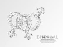 Orgullo bisexual, símbolo de la gente Ejemplo digital 3d de Wireframe Papiroflexia poligonal LGBT del vector polivinílico bajo de libre illustration