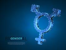 Orgullo bisexual, símbolo de la gente Ejemplo digital 3d de Wireframe Vector polivinílico bajo LGBT de neón poligonal del extract stock de ilustración