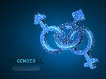 Orgullo bisexual, símbolo de la gente Ejemplo digital 3d de Wireframe Vector polivinílico bajo LGBT de neón poligonal del extract ilustración del vector