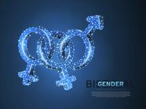 Orgullo bisexual, símbolo de la gente Ejemplo digital 3d de Wireframe Vector polivinílico bajo LGBT de neón poligonal del extract libre illustration