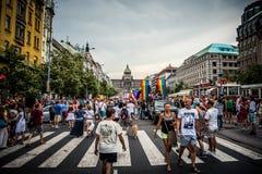 Orgullo 2015 de Wenceslas Square - de Praga Imagen de archivo libre de regalías