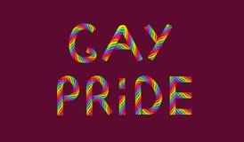 Orgullo gay coloreado arco iris del texto en el ejemplo p?rpura del fondo 3D libre illustration