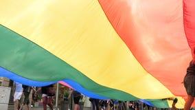 Orgullo gay feliz de la muchedumbre de LGBT que celebra el baile debajo de bandera metrajes