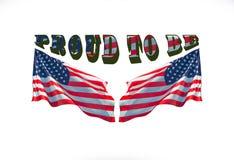 Orgulloso ser americano con dos banderas de los E.E.U.U. usadas como fondo fotografía de archivo