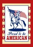Orgulloso ser tarjeta de felicitación americana del cartel Foto de archivo
