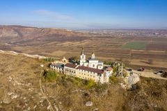 Orhei, Moldova Republic, famous Orthodox Church and region symbol. Aerial view of Old Orhei and Butuceni village shot using a high resolution drone royalty free stock photos