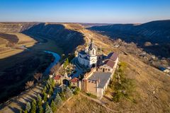 Orheiul Vechi Old Orhei Orthodox Church in Moldova Republic near Chisniau and Orhei city. Aerial view of Old Orhei and Butuceni village shot using a high royalty free stock photography