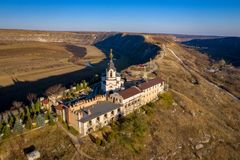 Orheiul Vechi Old Orhei Orthodox Church in Moldova Republic near Chisniau and Orhei city. Aerial view of Old Orhei and Butuceni village shot using a high royalty free stock images