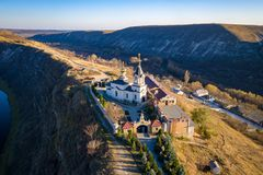 Orheiul Vechi Old Orhei Orthodox Church in Moldova Republic situated on top of a hill. Aerial view of Old Orhei and Butuceni village shot using a high royalty free stock photo