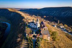 Orheiul Vechi Old Orhei Orthodox Church in Moldova Republic on top of a hill. Aerial view of Old Orhei and Butuceni village shot using a high resolution drone stock photography