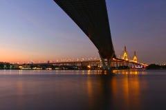 Oriëntatiepunt, Landschap, Ove Bhumibol Bridge On de banken van Chao Phraya River bij schemering in Thailand royalty-vrije stock foto's