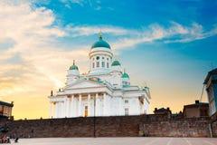 Oriëntatiepunt van de de Kathedraal het Beroemde Koepel van Finland, Helsinki in Neoklassieke Stijl stock foto