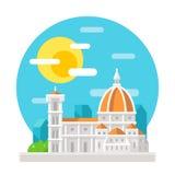 Oriëntatiepunt van het de kathedraal het vlakke ontwerp van Florence vector illustratie