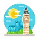 Oriëntatiepunt van het de klokketoren het vlakke ontwerp van Big Ben Stock Afbeelding