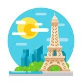 Oriëntatiepunt van het de toren het vlakke ontwerp van Eiffel Royalty-vrije Stock Afbeelding