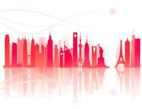 Oriëntatiepunt van modern stadspatroon stock illustratie