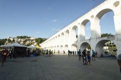 Oriëntatiepunt witte bogen van Arcos DA Lapa in Centro van Rio de Janeiro Brazil stock foto's