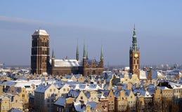 Oriëntatiepunten de van de binnenstad van Gdansk in de winter stock foto's