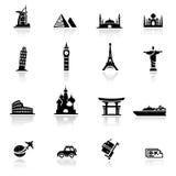 Oriëntatiepunten en de culturen van het pictogram de vastgestelde royalty-vrije stock foto's
