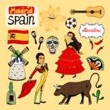 Oriëntatiepunten en pictogrammen van Spanje Stock Foto's