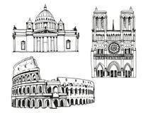 Oriëntatiepunten van de wereld, vectorillustratie die op witte achtergrond wordt geïsoleerd royalty-vrije illustratie