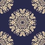 Oriënteer Naadloze Vector Blauwe en Gouden Achtergrond vector illustratie
