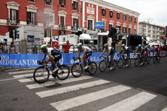 Orica greenedge. The australian team orica greenedge in action during the famous cycling race giro d'italia 4th stage at bari in italy.may 2014 Stock Photo