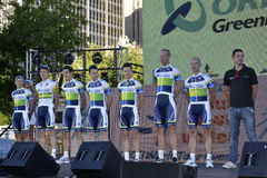 ORICA GreenEDGE  Professional Cycling Team. ADELAIDE, SOUTH AUSTRALIA - Jan 19: Members of the professional cycling team, ORICA GreenEDGE line up for team Royalty Free Stock Photography