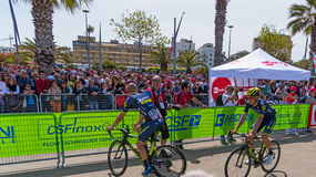 Orica Scott cyclists on 100th Giro d`Italia opening day Stock Photo