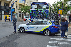 Orica Scott Team Car And Bikes Lizenzfreie Stockbilder
